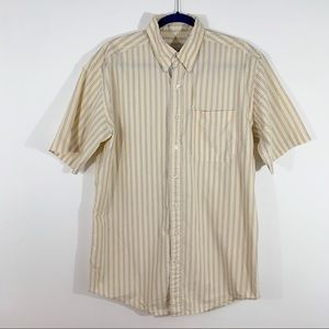 L.L. Bean . Striped Button Front S/S Shirt . M